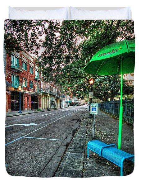 Green Umbrella Bus Stop Duvet Cover by Michael Thomas