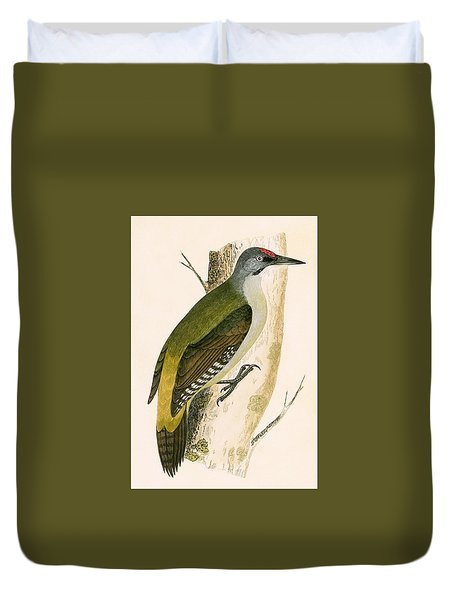 Grey Woodpecker Duvet Cover by English School