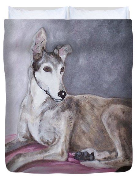 Greyhound At Rest Duvet Cover by George Pedro