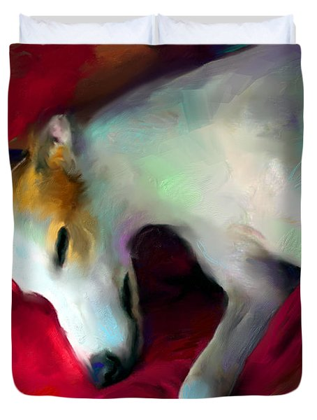 Greyhound Dog portrait  Duvet Cover by Svetlana Novikova