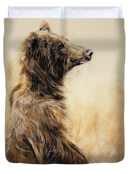Grizzly Bear 2 Duvet Cover by Odile Kidd