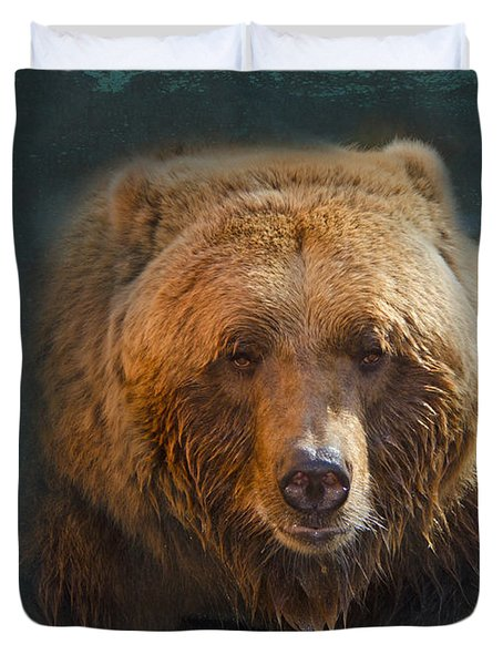 Grizzly Bear Portrait Duvet Cover by Betty LaRue