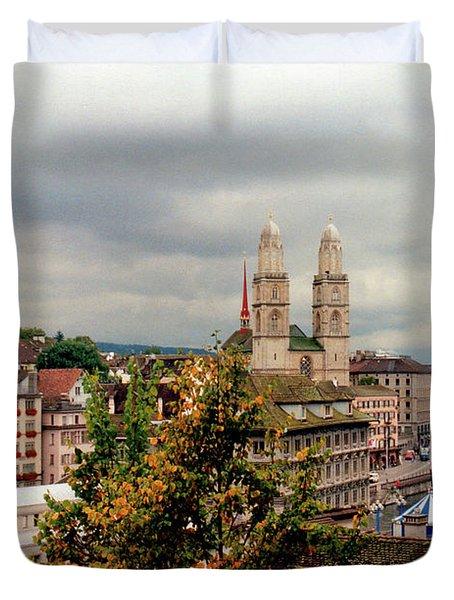 Grossmuenster Church Zurich Switzerland Duvet Cover by Susanne Van Hulst