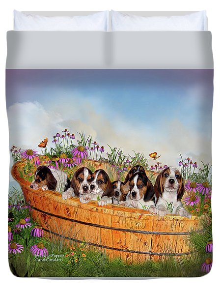 Growing Puppies Duvet Cover by Carol Cavalaris