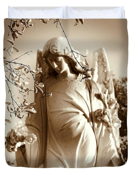 Guardian Angel Bw Duvet Cover by Susanne Van Hulst