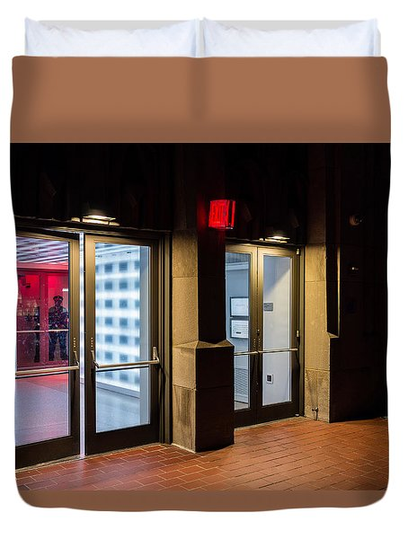 Duvet Cover featuring the photograph Guarding The Door by M G Whittingham