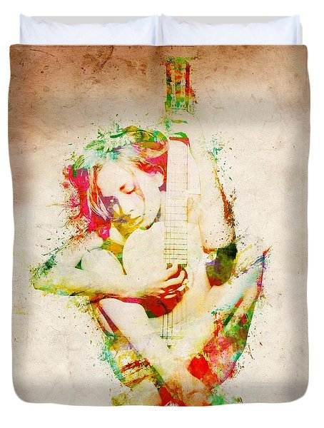 Guitar Lovers Embrace Duvet Cover by Nikki Smith