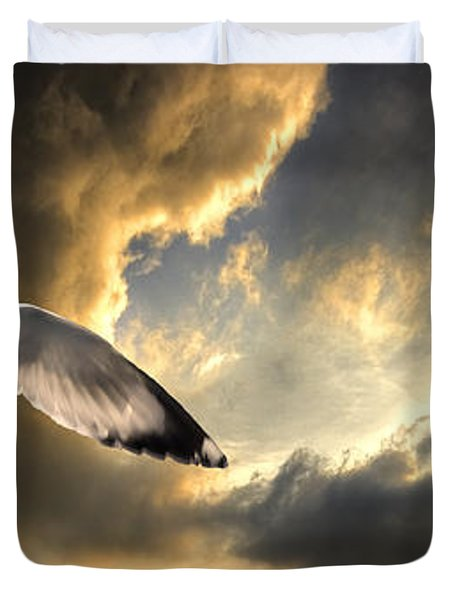 Gull With Approaching Storm Duvet Cover by Meirion Matthias