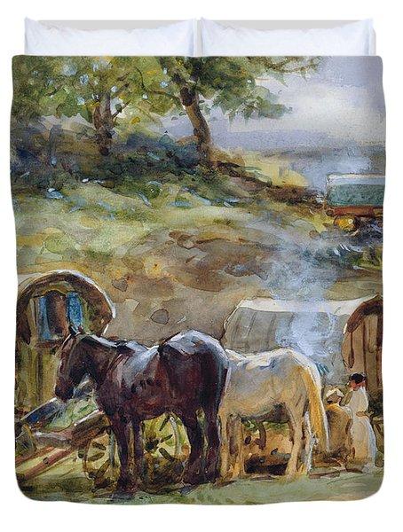 Gypsy Encampment Duvet Cover by John Atkinson