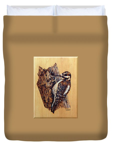 Hairy Woodpecker Duvet Cover by Ron Haist