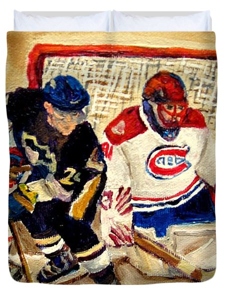 Halak Catches The Puck Stanley Cup Playoffs 2010 Duvet Cover by Carole Spandau