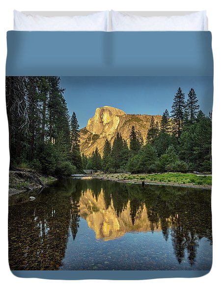 Half Dome From  The Merced Duvet Cover by Peter Tellone