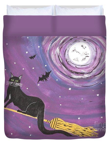Halloween Flying  Black Cat Duvet Cover by Jeffrey Koss