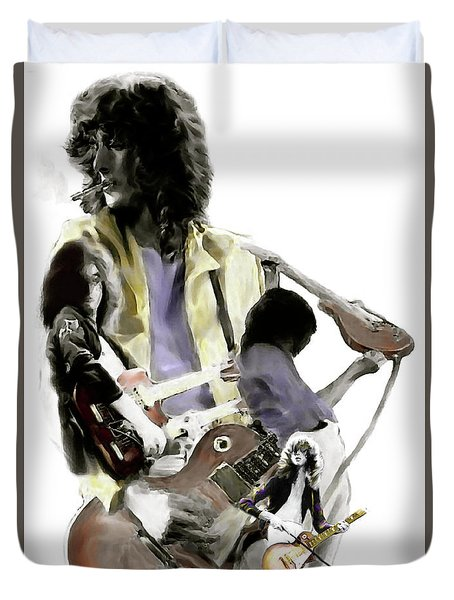Hammer Of The Gods   Jimmy Page Duvet Cover by Iconic Images Art Gallery David Pucciarelli