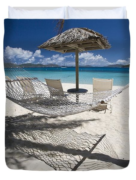 Hammock On The Beach Duvet Cover by Hammock on the beach