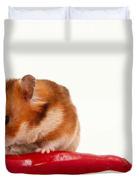 Hamster Eating A Red Hot Pepper Duvet Cover by Yedidya yos mizrachi