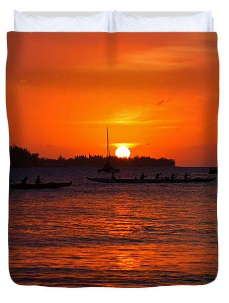 Hanalei Sunset Duvet Cover by Mike  Dawson
