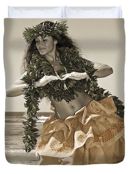 Hand Colored Hula Duvet Cover by Himani - Printscapes
