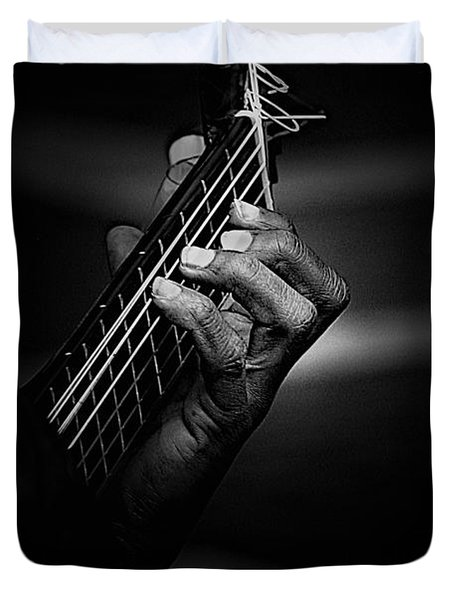 Hand Of A Guitarist In Monochrome Duvet Cover by Avalon Fine Art Photography