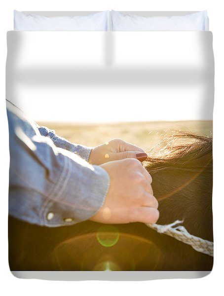 Hands On The Reins Duvet Cover by Todd Klassy