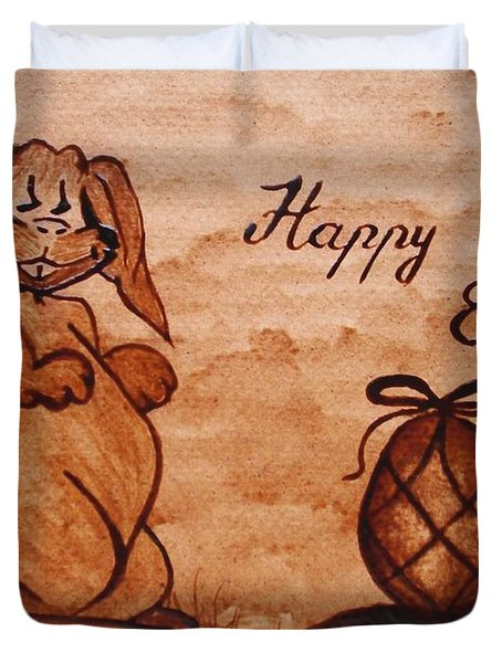 Happy Easter Coffee Painting Duvet Cover by Georgeta  Blanaru