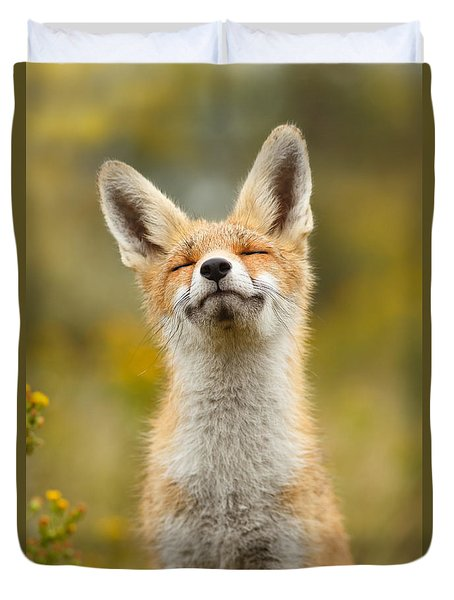 Happy Fox Duvet Cover by Roeselien Raimond