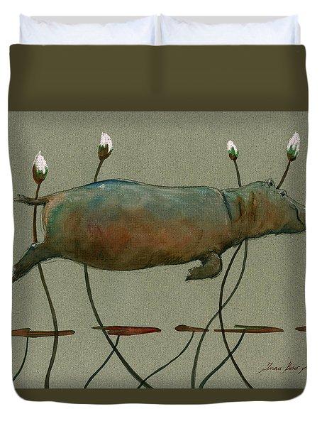 Happy Hippo Swimming Duvet Cover by Juan  Bosco