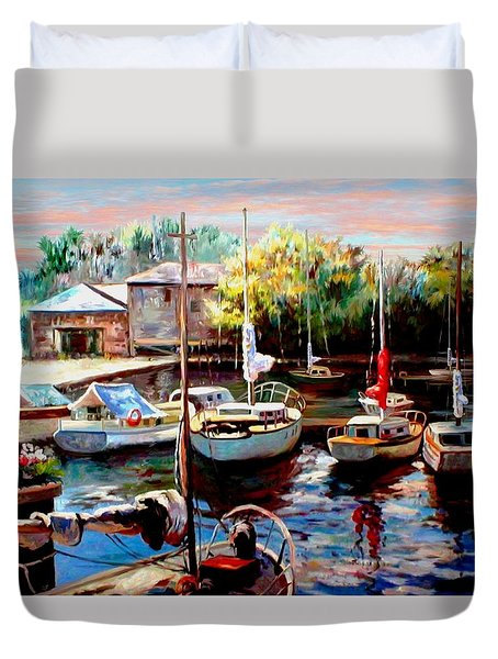 Harbor Sailboats at Rest Duvet Cover by Ronald Chambers