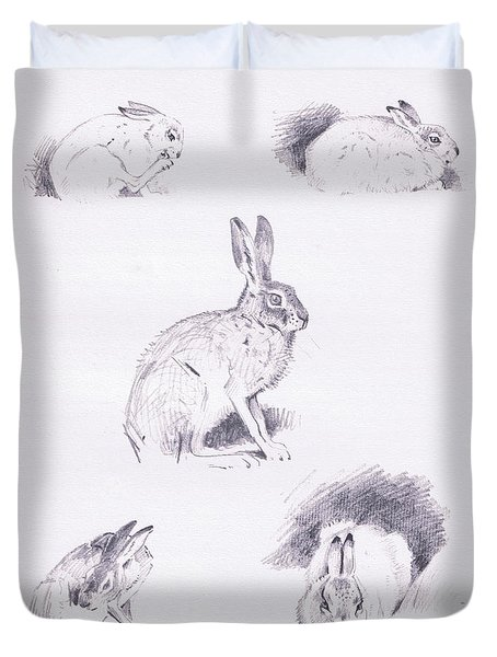 Hare Studies Duvet Cover by Archibald Thorburn
