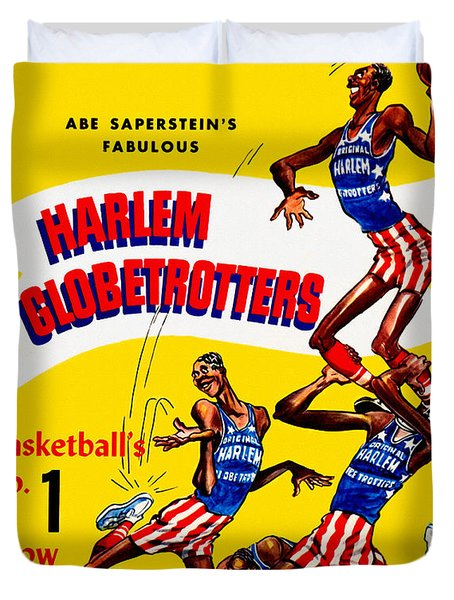 Harlem Globetrotters Vintage Program 32nd Season Duvet Cover by Big 88 Artworks