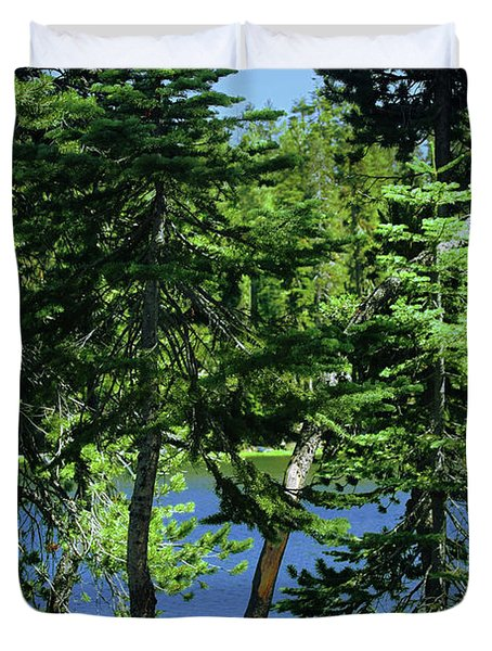 Harmony In Green And Blue - Manzanita Lake - Lassen Volcanic National Park Ca Duvet Cover by Christine Till