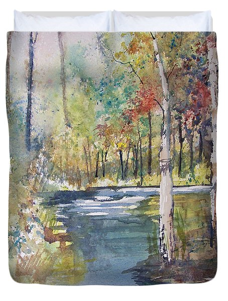 Hartman Creek Birches Duvet Cover by Ryan Radke