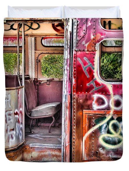 Haunted Graffiti Art Bus Duvet Cover by Susan Candelario
