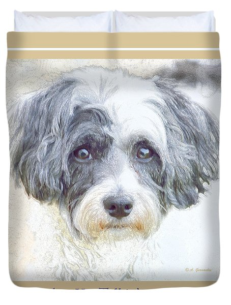 Duvet Cover featuring the digital art Havanese Dog Looking At You by A Gurmankin