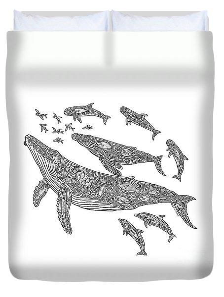 Hawaiian Humpbacks Duvet Cover by Carol Lynne