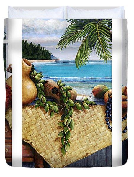 Hawaiian Still Life With Haleiwa On My Mind Duvet Cover by Sandra Blazel - Printscapes