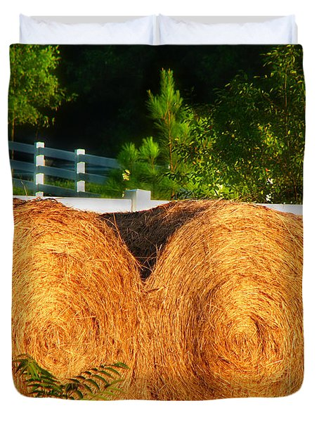 Hay Bales Duvet Cover by Todd A Blanchard