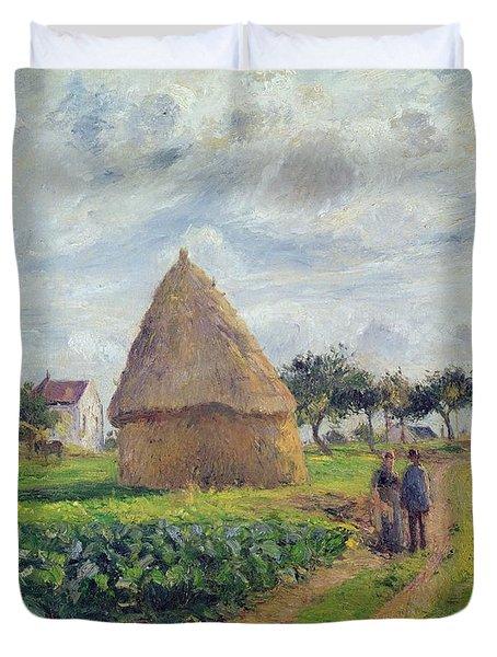 Haystacks Duvet Cover by Camille Pissarro