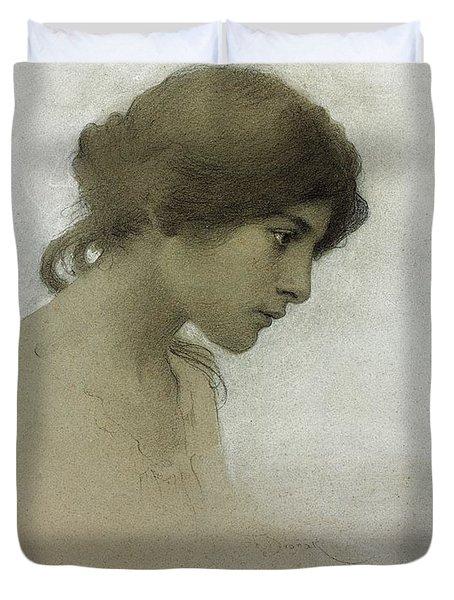 Head Of A Girl  Duvet Cover by Franz Dvorak