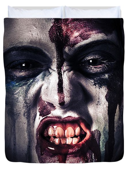 Head Shot On A Pure Evil Zombie Girl Duvet Cover by Jorgo Photography - Wall Art Gallery