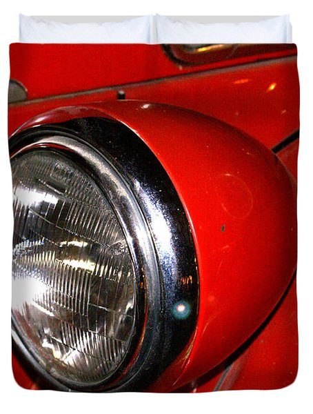 Headlamp On Antique Fire Engine Duvet Cover by Douglas Barnett
