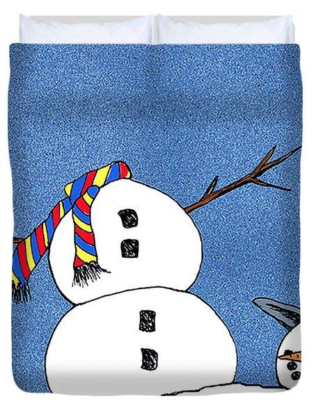 Headless Snowman Duvet Cover by Nancy Mueller