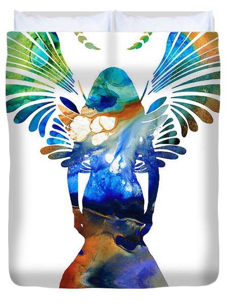 Healing Angel - Spiritual Art Painting Duvet Cover by Sharon Cummings