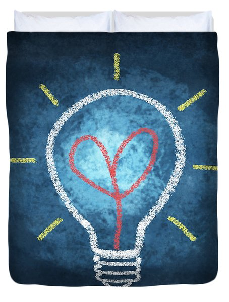 heart in light bulb Duvet Cover by Setsiri Silapasuwanchai