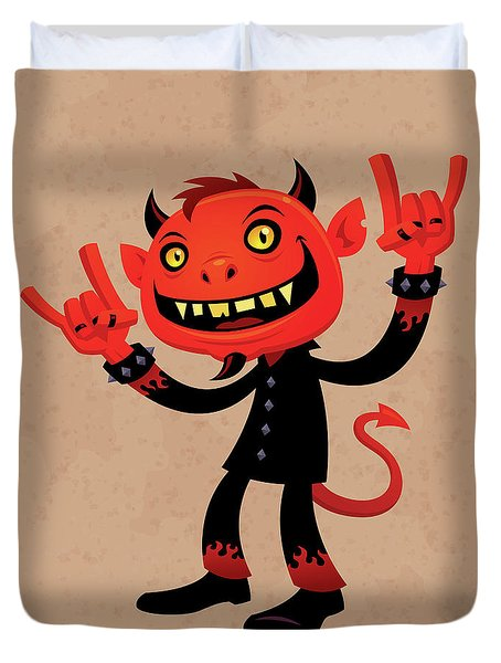 Heavy Metal Devil Duvet Cover by John Schwegel