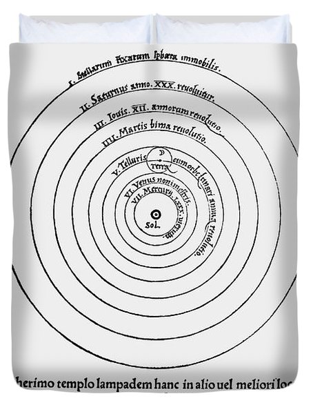 Heliocentric Universe, Copernicus, 1543 Duvet Cover by Science Source