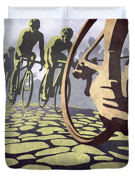 Hell Of The North Retro Cycling Illustration Poster Duvet Cover by Sassan Filsoof