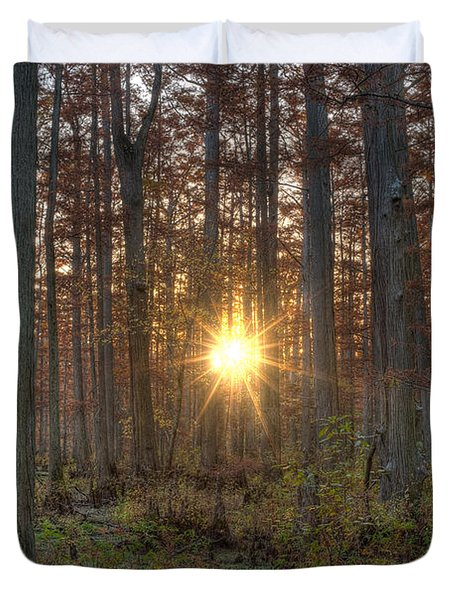 Heron Pond Sunrise Duvet Cover by Steve Gadomski