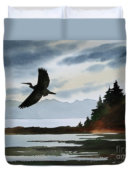 Heron Silhouette Duvet Cover by James Williamson
