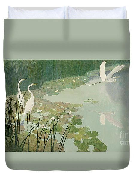 Herons In Summer Duvet Cover by Newell Convers Wyeth